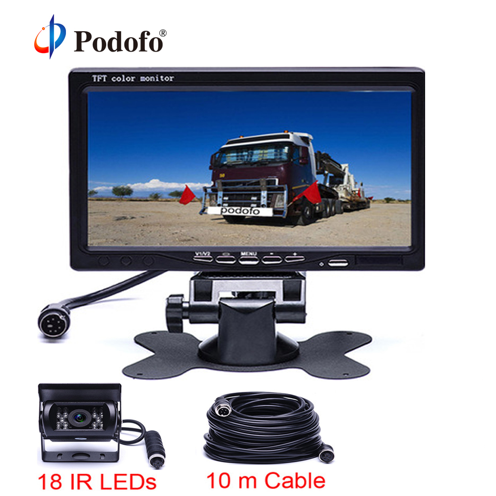 Podofo 18 IR Reversing Camera 4Pin 7 LCD Monitor 12V 24V For Truck Bus Van Rear