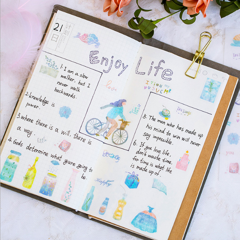 4 Pcs lot Cute one people time stickers Kawaii Planner Diary Scrapbooking Sticker Stationery School Supplies in Stationery Stickers from Office School Supplies