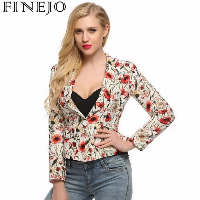 Finejo Spring Slim Blazer Coat Women Fashion Casual Floral Print Long Sleeve One Button Blazer Jacket with Ruffle Hem S-XXL