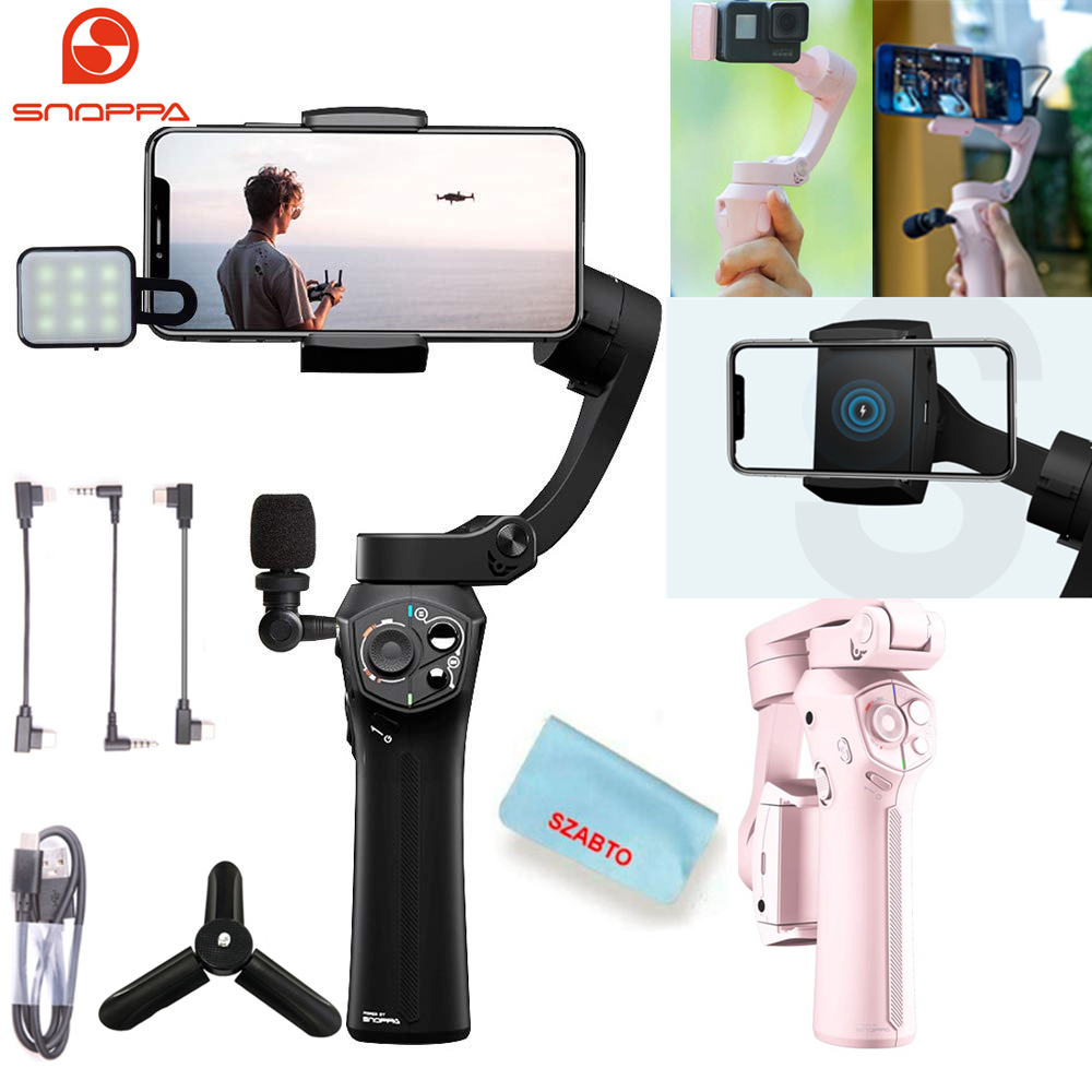 Snoppa Atom Foldable Pocket Sized 3 Axis Handheld Gimbal Stabilizer for iPhone Samsung XiaoMi Huawei for Gopro 6 7 PK Smooth 4