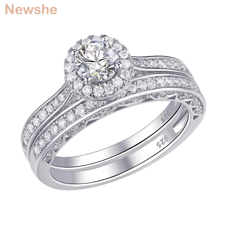 Beautiful Sterling silver 925 sterling Sterling Silver 2-Piece CZ Wedding Set Ring