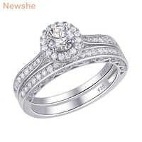 Newshe 2 個ハロー結婚指輪 925 スターリングシルバー 1.6 Ct ラウンド AAA CZ クラシックジュエリー婚約指輪女性のための