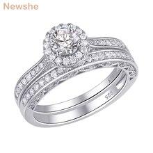 Newshe 2 قطعة خاتم الزفاف هالو مجموعة الصلبة 925 فضة 1.6 Ct جولة AAA تشيكوسلوفاكيا الكلاسيكية مجوهرات خواتم الخطبة للنساء