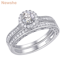 Newshe 2 Pcs 헤일로 결혼 반지 세트 솔리드 925 스털링 실버 1.6 Ct 라운드 AAA CZ 클래식 쥬얼리 약혼 반지 여성을위한