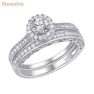 Image 1 - Newshe 2 Pcs Halo Wedding Ring Set Solid 925 Sterling Silver 1.6 Ct Round AAA CZ Classic Jewelry  Engagement Rings For Women
