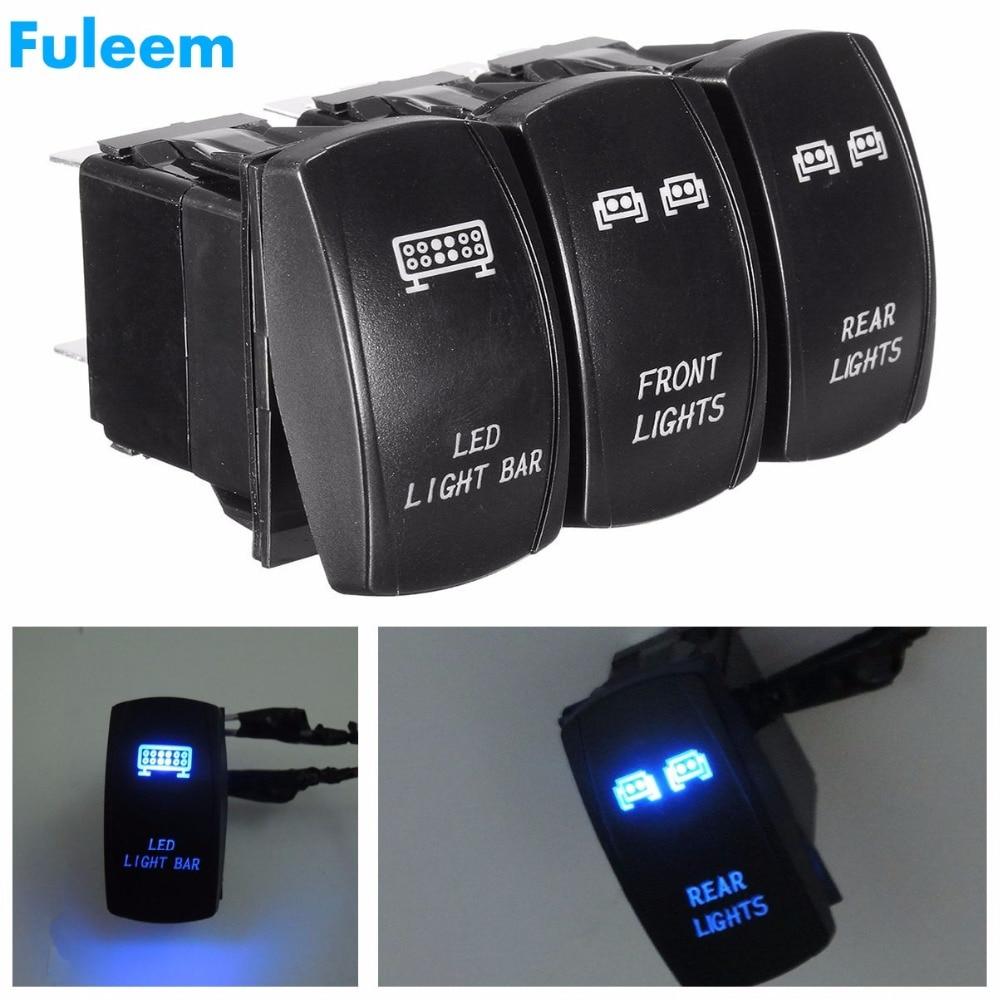 Fuleem 3PCS Front Rear Blue LED Lights Bar Rocker Switch Laser ON-OFF DIY Switch Universal For UTV SUV OFFROAD Boat