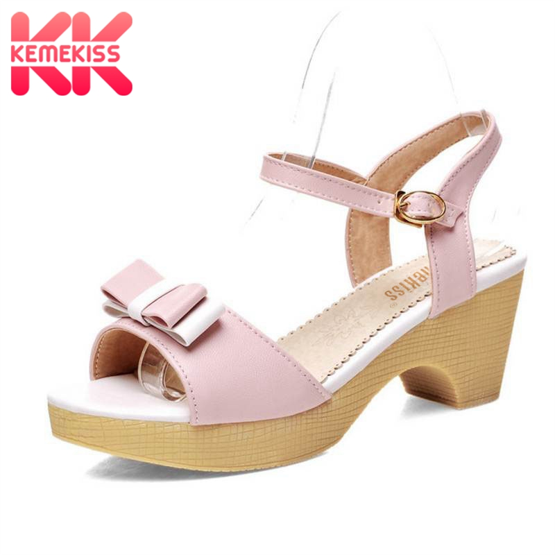 KemeKiss Women Stiletto Ankle Strap Square High Heel Sandals Sweet Lady Peep Toe Shoes Women Bowknot Sandals Size 34-42 PA00673 sweet ankle strap and bowknot design sandals for women