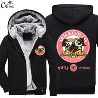 2018 New Printed dog hoodies man funny Hip Hop Winter velvet thickening printing o neck sweatshirts Autumn