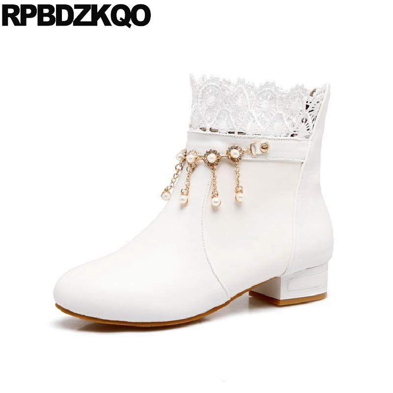 Black Flat Women Short White Wedding Boots Shoes Cheap 10 Embellished Slip On Winter Ankle Waterproof Big Size Lace Autumn Bead new style edible ink printer art beverages coffee printer coffee food printer coffee pull flower selfie coffee printer