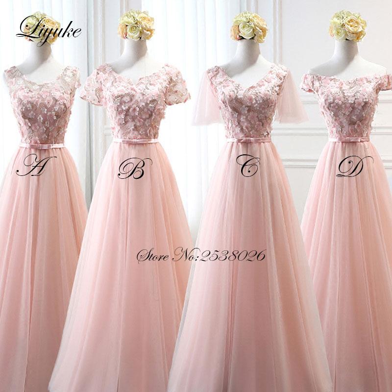Simple A Line Long Sleeve Wedding Dress Elegant 2016: Liyuke Pink Color Chiffon Cap Sleeve Long Formal Dress