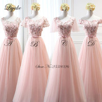 Liyuke Pink Color Chiffon Cap Sleeve Long Formal Dress Simple Elegant 4 Kinds A line Bridesmaid Dresses