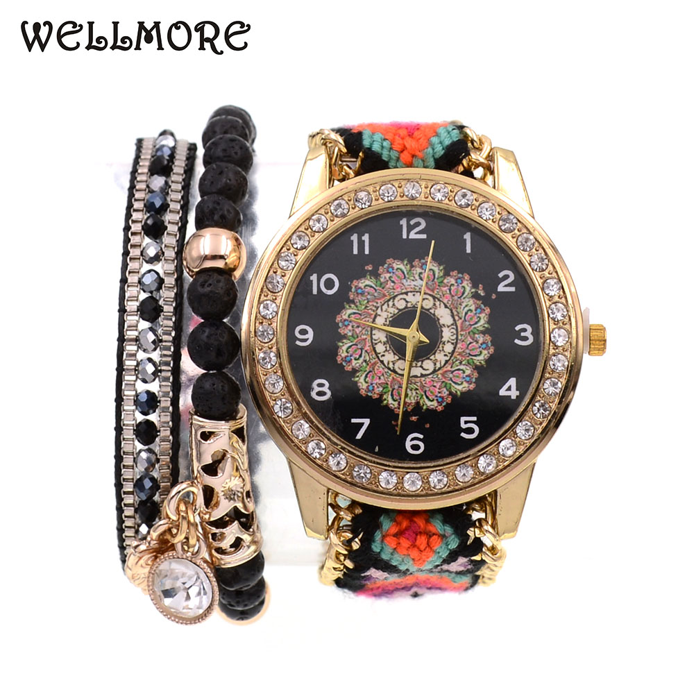 WELLMORE Women Watches BOHO Style 2pcs Beads Bracelets With Watch Combination Wrist Watches For Women Quartz Watches Wholesale