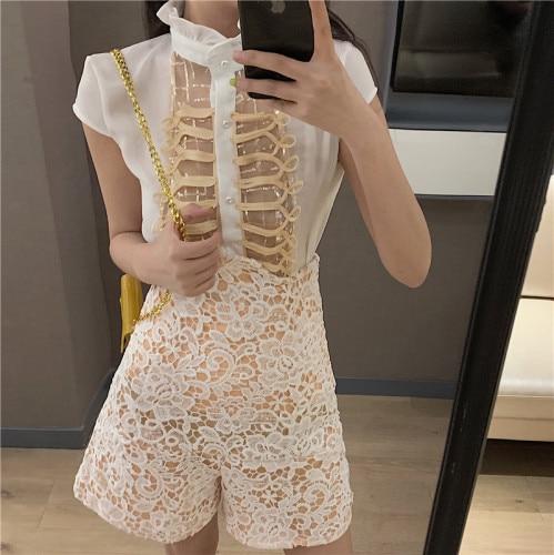 Short Sleeve Palace 2 Set Woman Sequin High Waist Suit Women Lace Transparent Fashion Shorts 2 Pcs Sets Summer thumbnail