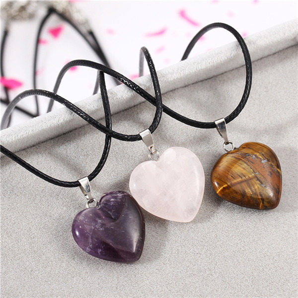 Heart Pendant Necklace Pink Purple Crystal Natural Stone Leather Chain Necklace Fine Jewelry women in Pendant Necklaces from Jewelry Accessories