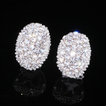 Classic Design Romantic Jewelry  Silver Color Zirconia Stone Stud Earrings Wedding Jewelry 1