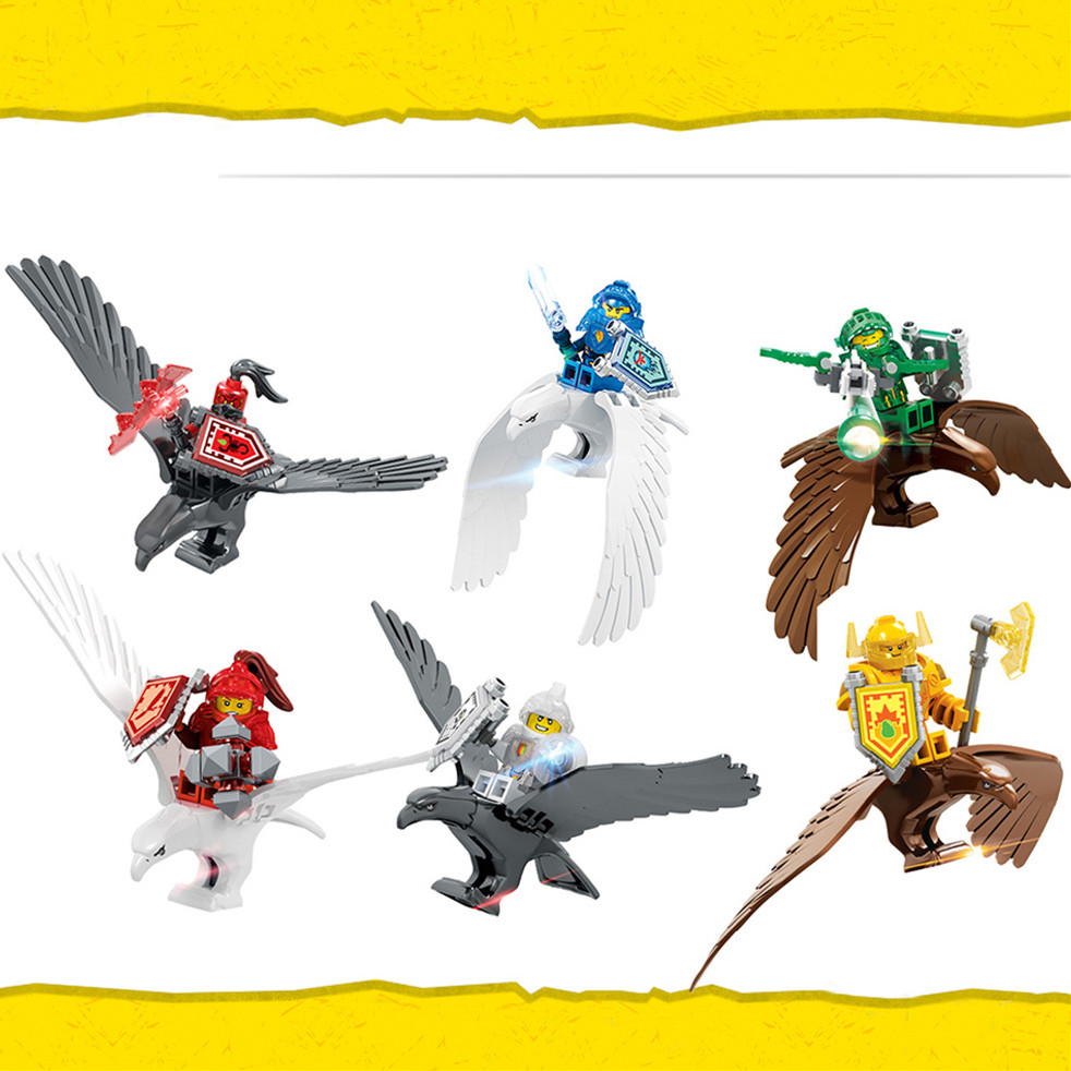 6pcs Nexus Soldiers Futrue Knights Eagles Robin Aaron Beast Master Castle Warrior Building Blocks Figures Gift Boy Toy Children ancient knight 28pcs set soldiers and horses medieval model toy soldiers figures