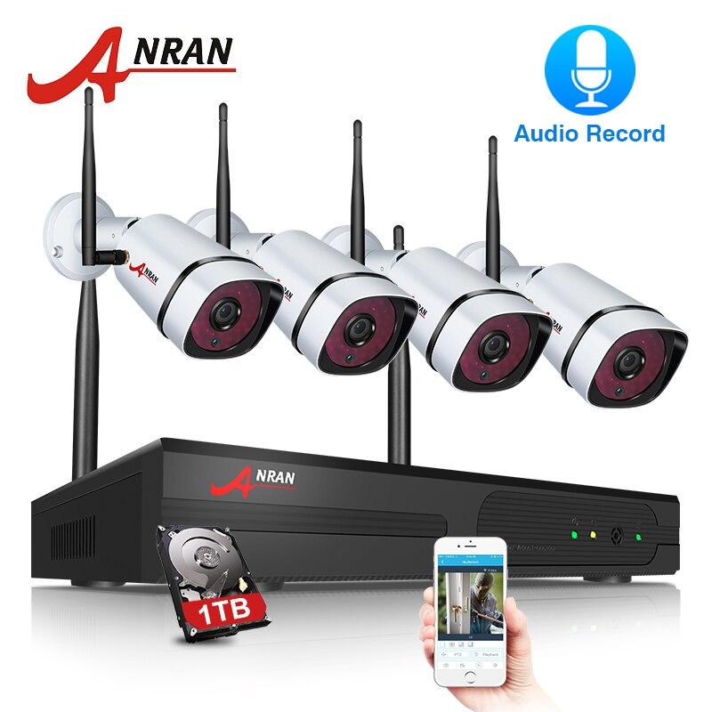 ANRAN Sans Fil CCTV Système 1080 p Enregistrement Audio 4CH NVR Kit IR-CUT Extérieure CCTV Caméra IP Système de Sécurité Vidéo Surveillance kit