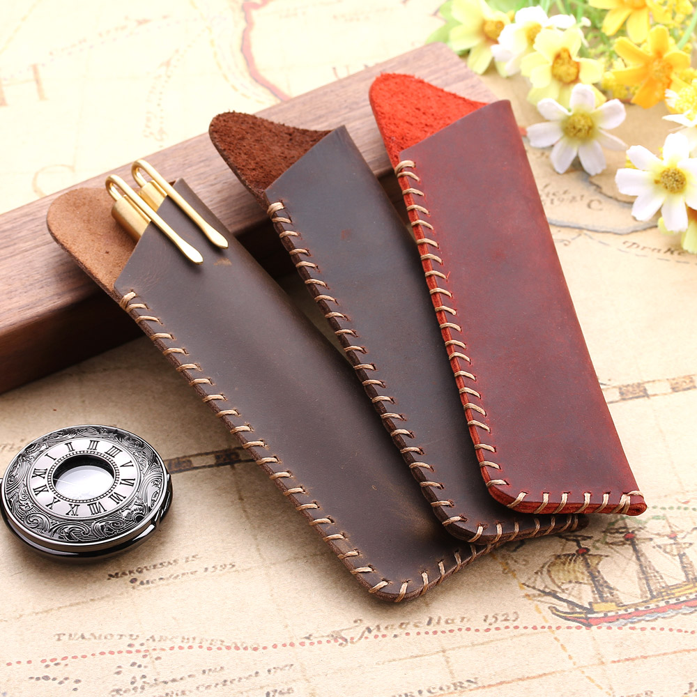 Retro Genuine Leather Pencil Bag, Handmade Fountain Pencil Pen Case Holder, Vintage Style Leather Accessories For Travel Journal