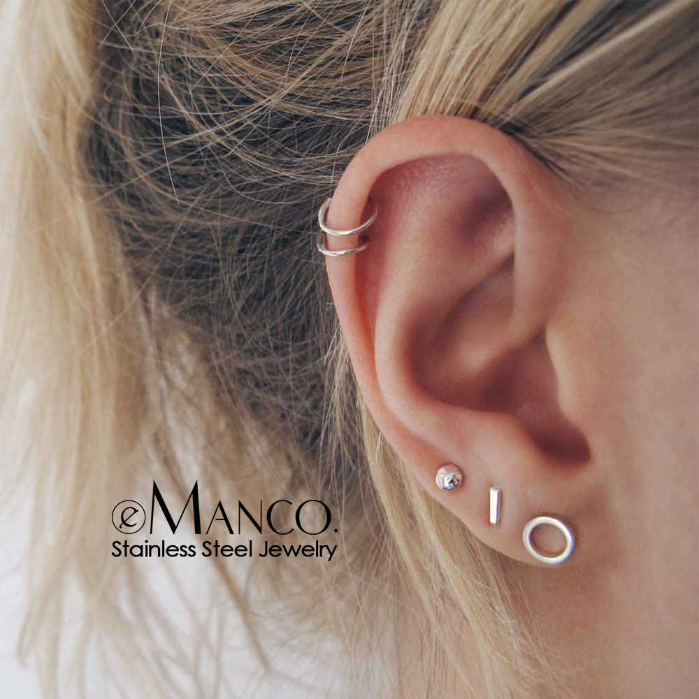 e-Manco korean stainless steel earrings set minimalist stud earrings for women hypoallergenic earrings stainless steel jewelry