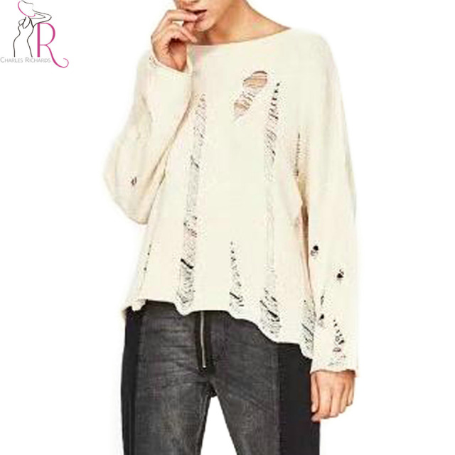 Aliexpress.com : Buy Autumn Ripped Knitted Jumper Women Long ...