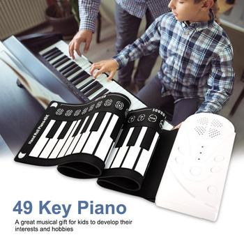 Professional 49 Keys Hand Roll Up Piano USB MIDI Keyboard Controller Hand Electronic Piano With Speaker Musical Instrument