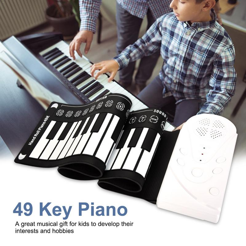 Professional 49 Keys Hand Roll Up Piano USB MIDI Keyboard Controller Hand Electronic Piano With Speaker Musical Instrument 1pc wood hand crank diy compose music box combo little piano musical instrument accessory with paper tape