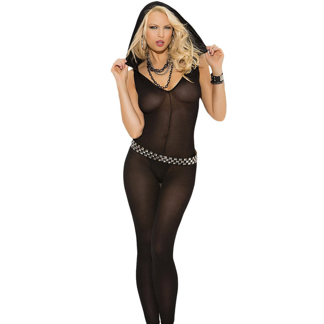 Festival Valentine's black hooded collar sleeveless V hollow gauze sexy Bodystockings transparent pajamas hot 79881