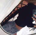 2016 New Women Long Sleeve Lace Up Crop sweaters and pullovers Sexy Winter Anturnm Crew Neck Cut-Out Christmas Knitwer Outwear