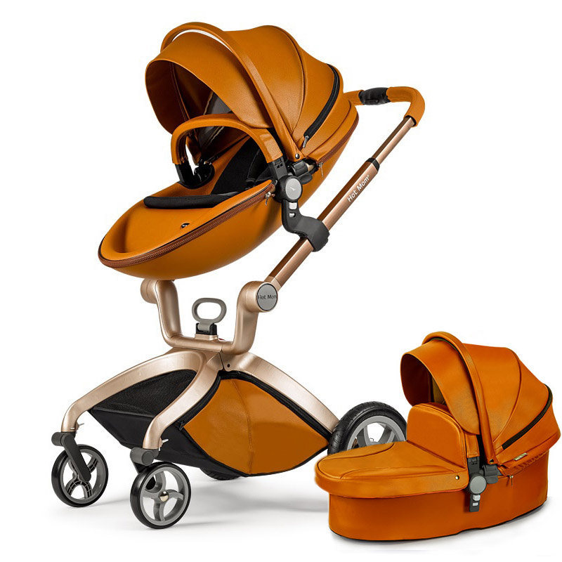 Hot Mom stroller stroller high landscape can sit or lie pneumatic wheels portable baby stroller trolley  free delivery luxury baby stroller high landscape baby carriage for newborn infant sit and lie four wheels