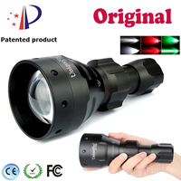 UniqueFire 3 Mode UF-1504 T67 Cree XRE Green/Red/White Light Led Flashlight Waterproof Lantern f.Rechargeable Battery 18650