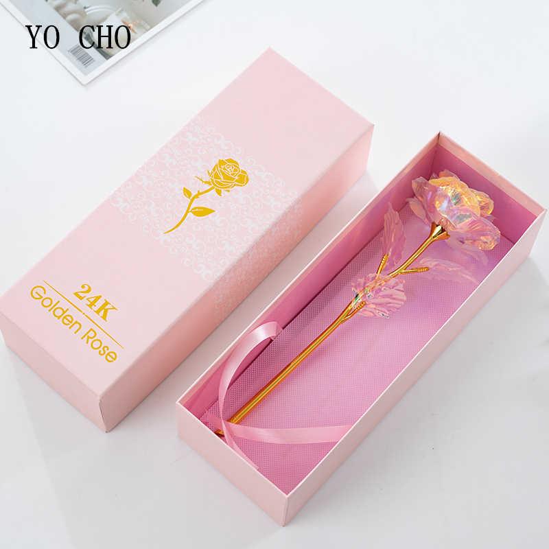 YO CHO انخفاض الشحن 24K احباط مطلي وردة ذهبية الزهور جلاكسي صندوق الزفاف ديكور عيد الحب الإبداعية هدية ذهبية قوس قزح