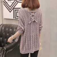 2018 New Sweater Coat Pulover Feminino Autumn Winter Women Knitted Jumper Thin O neck Long Sleeve Lace Up Sweater V1208