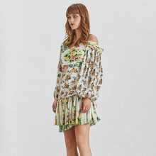 TWOTWINSTYLE Print Off Shoulder Women Dress Lantern Sleeve High Waist Hollow Out Mini Dresses Female Summer Fashion Clothes