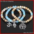 3 unids orden de la mezcla de imagen jasper azul brazalete de cuentas de ágata pulsera del estiramiento con ohm, hamsa, árbol de la vida encanto yoga pulsera