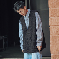 Fashion Casual Men's Sweater Spring And Autumn New M XL Solid Color V neck Loose Vest Four color Personality Youth Popular