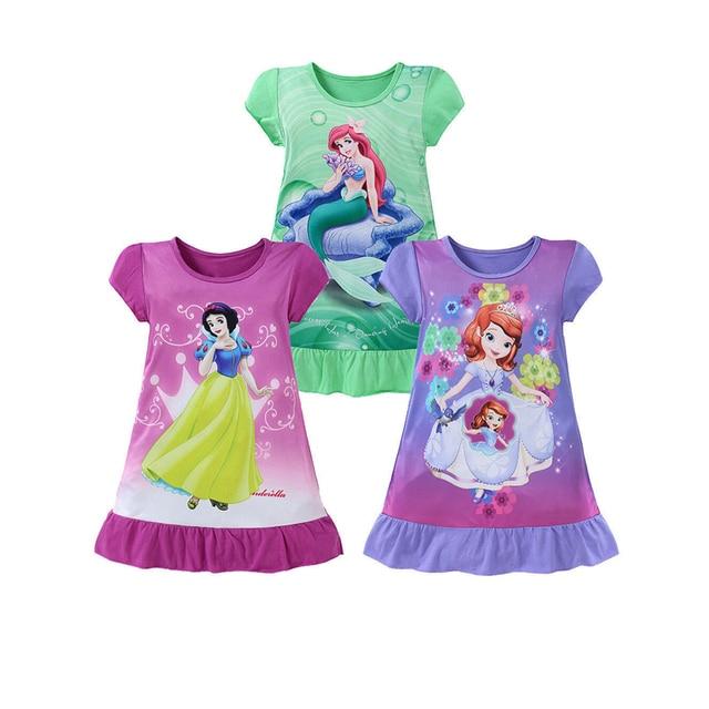 Mới được Thời Trang Mùa Hè Dễ Thương Toddler Bé Cô Gái Ăn Mặc 3 Phong Cách Cartoon Pattern Dress In Dress Knee-Length Trumpet Dress Outfit 4-10Y