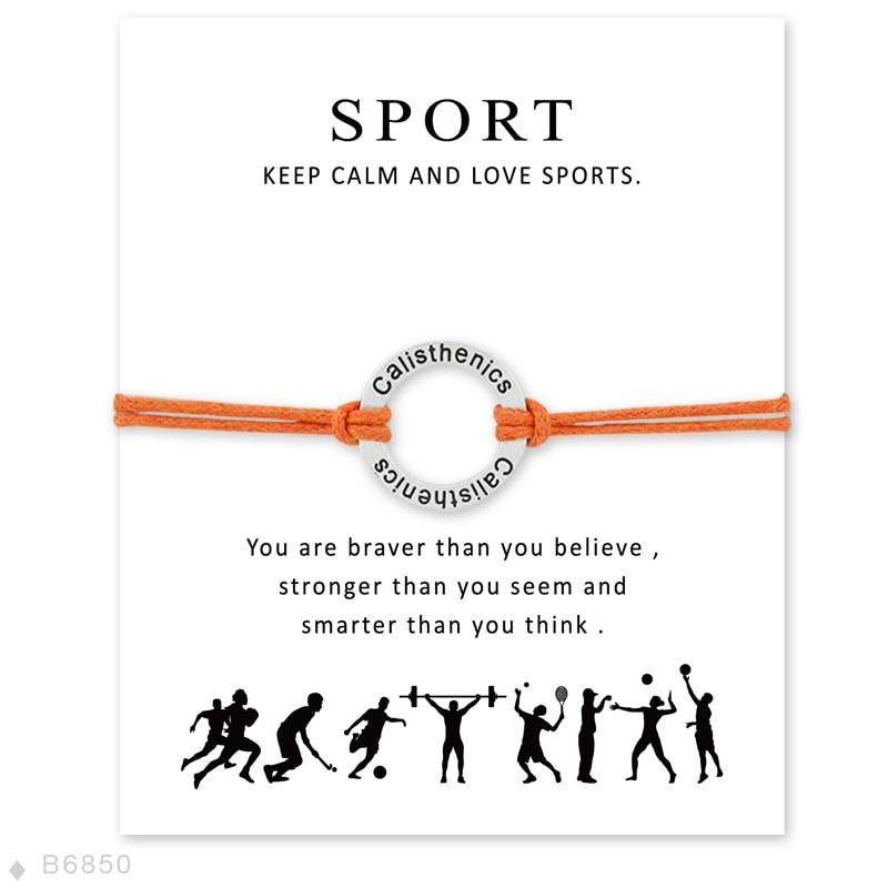 Gymnastik Cheerleader Gymnastik Volleyball Wünschen Karte Armband für Frauen Hohl Kreis Charme Armbänder Sport Fans Geschenke