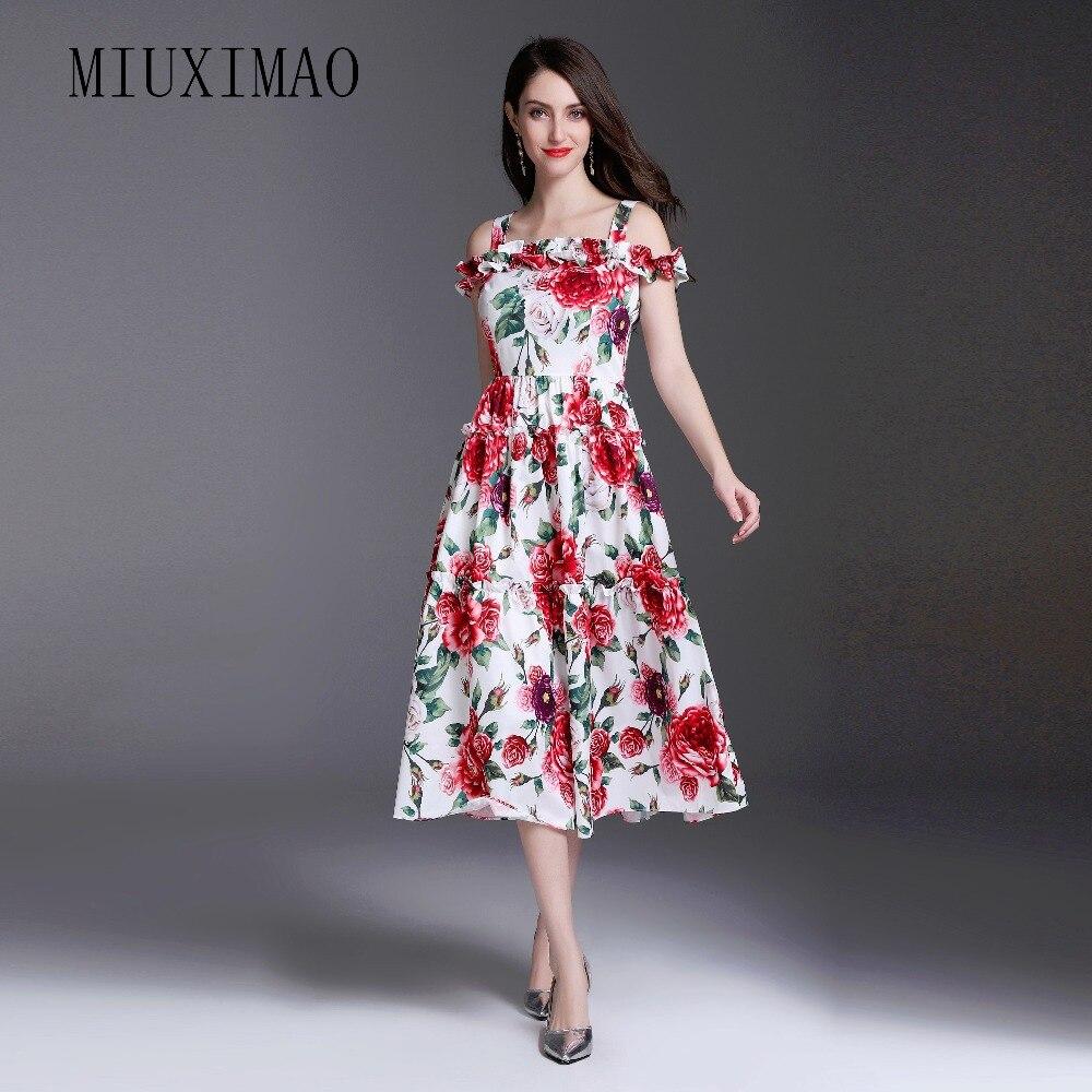 2018 printemps nouveau Style décontracté une ligne élégant col carré réservoir à manches courtes fleur imprimer haute qualité mi-mollet robe femmes