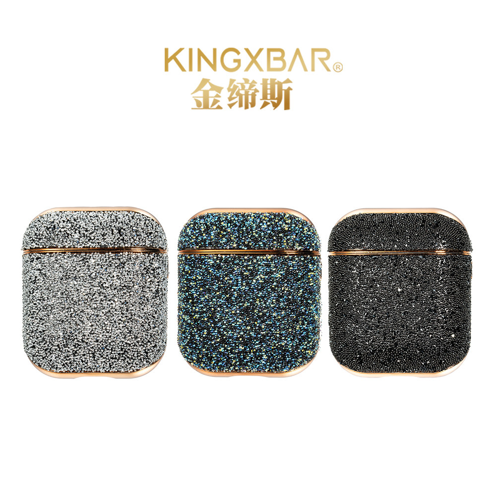 Boîtier complet diamants pour Airpods 2 recharge sans fil de luxe Bluetooth porte-écouteurs sac housse de protection antichoc KINGXBAR