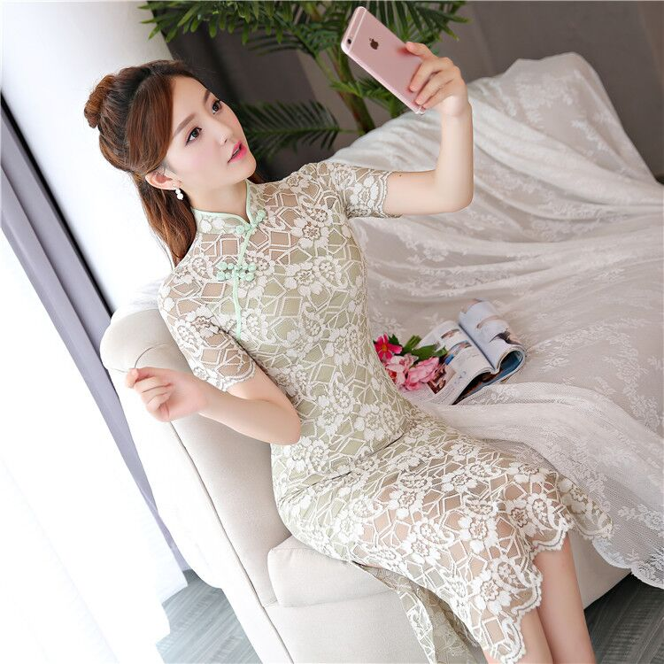 New Arrival Lace Long Cheongsam Fashion Chinese Style Women's Dress Elegant Qipao Vestidos Size S M L XL XXL XXXL 27540A женское платье brand new 2015 vestidos 5xl s m l xl xxl xxxl 4xl 5xl