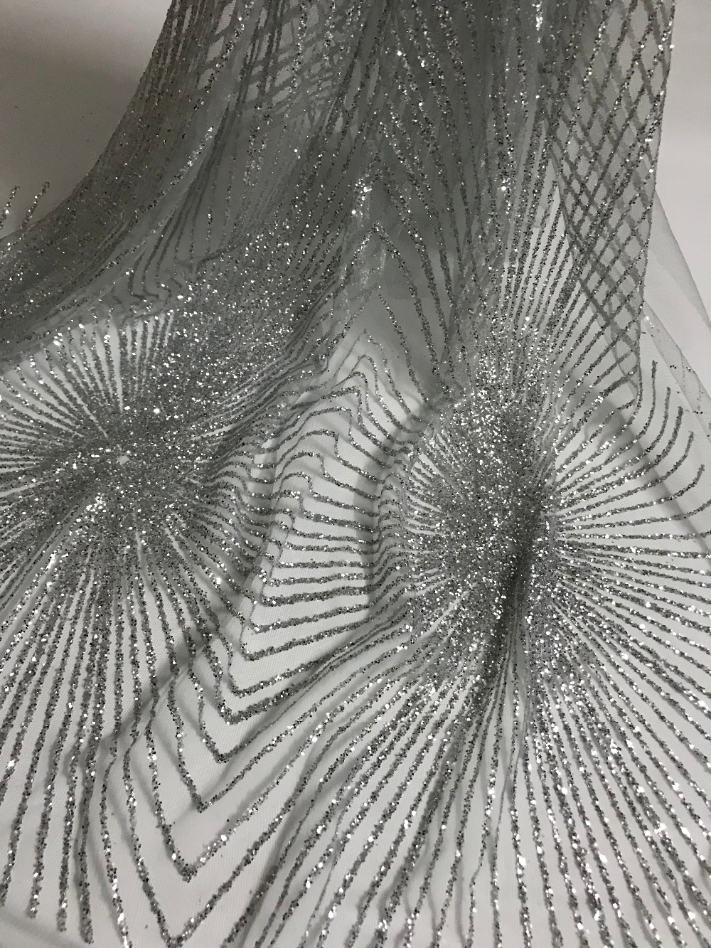 nice design top quality CiCi 71106 glitter print tulle mesh lace for sawing party wedding