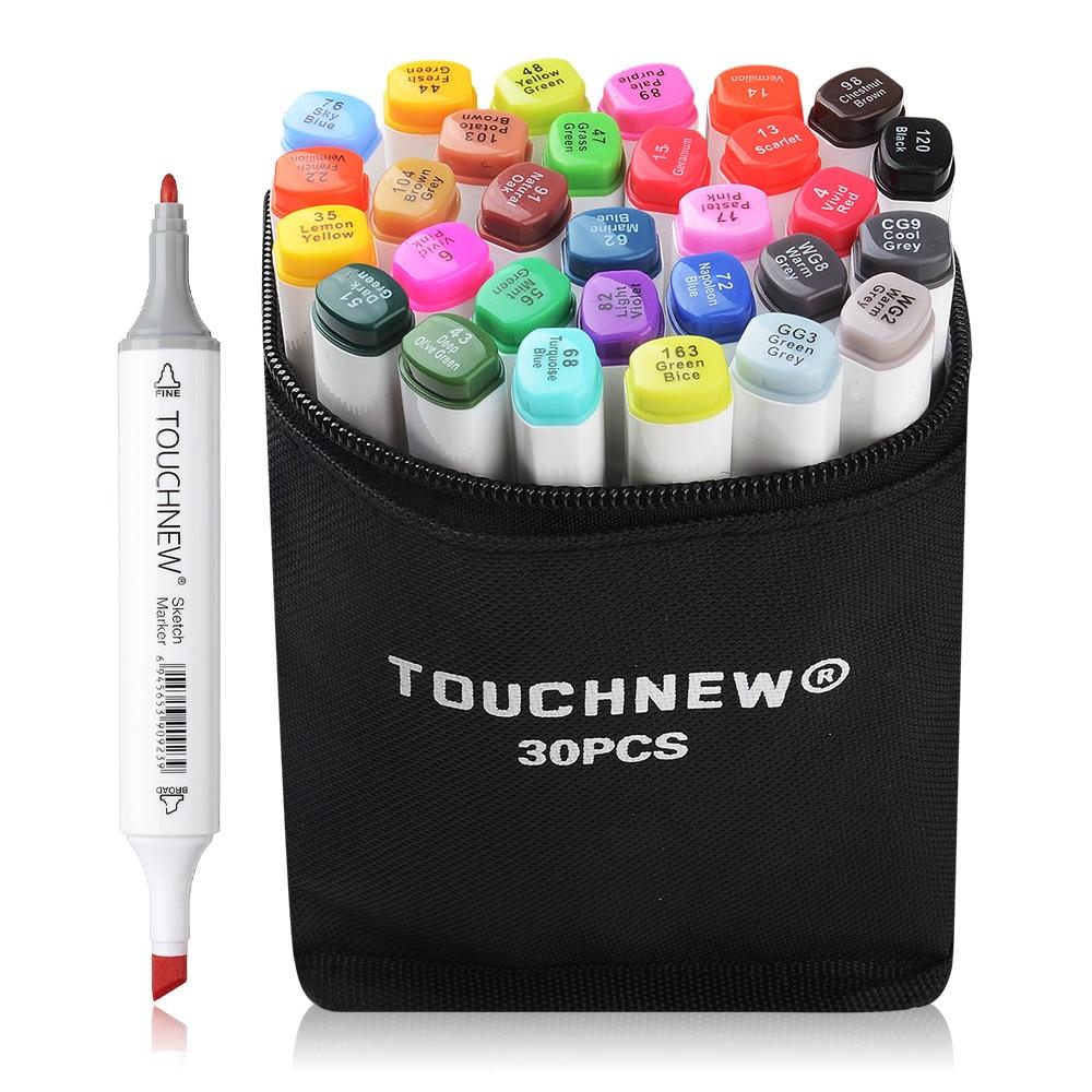 TOUCHNEW 30/40 Barevná sada Alkohol Dual Tip Obecná skica Design Pero Marker White Body + Pencil Bag