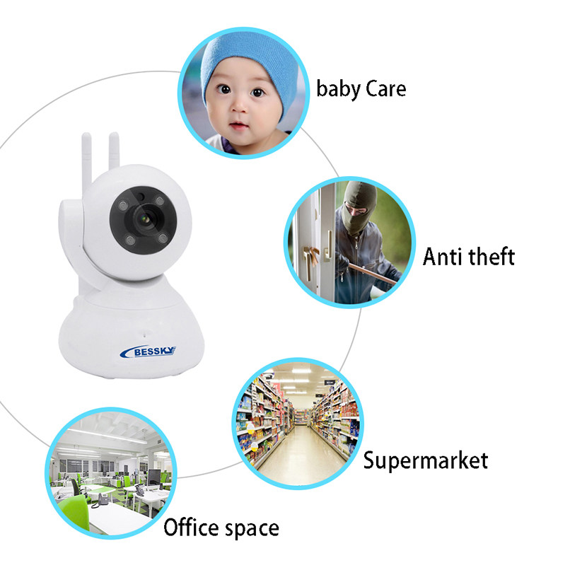 Bessky Wifi Ip Camera Hd 720p Wireless 1mp Smart Cctv Security P2p Network Baby Monitor Home For Protection Mobile Remote Cam