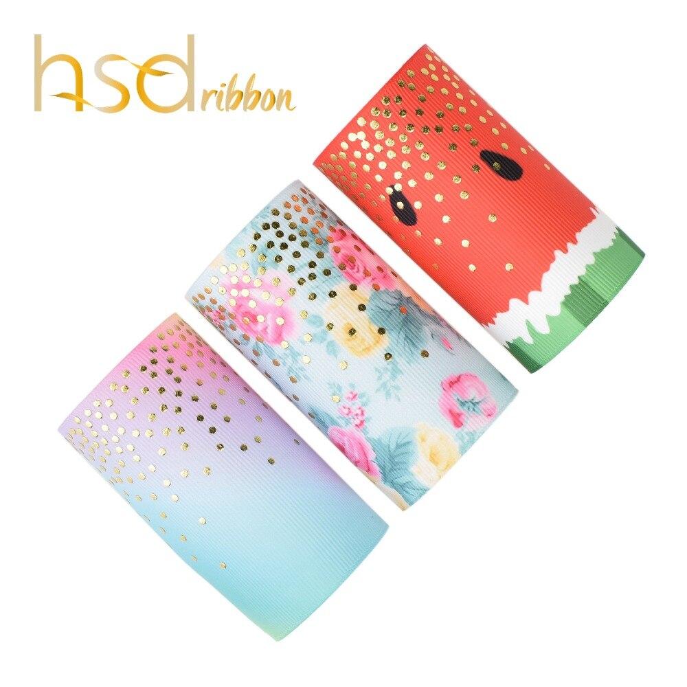 HSDRibbon 75 MM 3 cal niestandardowe drukowane małe kropki złota folia drukowane na HT ryps wstążka w Wstążki od Dom i ogród na  Grupa 1
