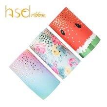 Hsdribbon 75 Mm 3 Inch Custom Gedrukt Little Dots Gold Folie Gedrukt Op Ht Grosgrain Lint