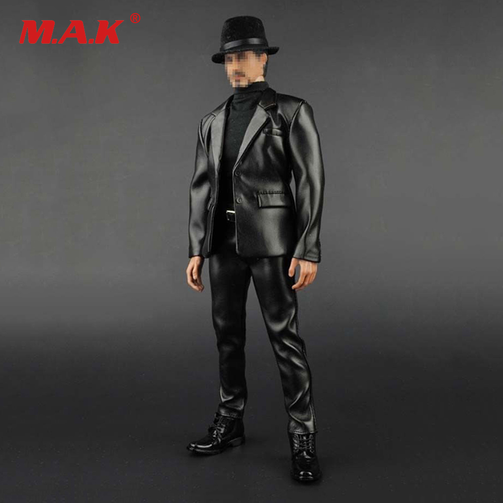 """1//6 Sacle Male Leather Coat Pants Hat Shoes Clothing Motorcycle 12/"""" Figure Body"""