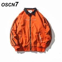 OSCN7 Orange Seite Streifen Hülse Design Street hip hop Jacke Männer 2018 Neue  Mode Casual High Street Jacke Männer JK203 12b5cc1a51