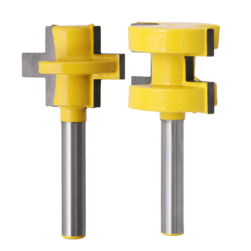 2Pcs 1/4'' Shank Tongue & Groove Router Cutter Tenon Line Bit Woodworking Tool 2pcs tongue