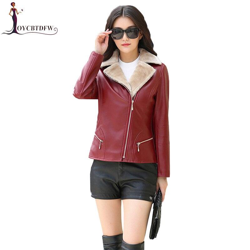 Women PU   Leather   Motorcycle Jacket Winter Warm Plus Velvet Outerwear 2018 New Fashion Slim Short PU   Leather   Jackets Female NO594