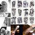 12 Folhas 3D Arte Do Corpo À Prova D' Água Etiqueta Do Tatuagem Temporária Tatouage Bonito Glitter Preto Flash Tatuagens de henna Para O Homem Mulheres